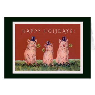 Drie Schattige Varkens die u Gelukkig Vakantie Kaart