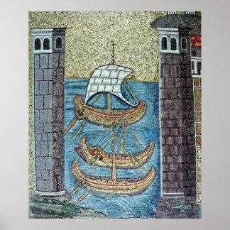 Drie schepen die de haven van Ravenna ingaan Poster