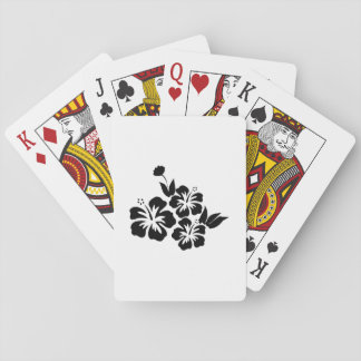 Drie Zwarte Tropische Bloemen van de Hibiscus Speelkaarten