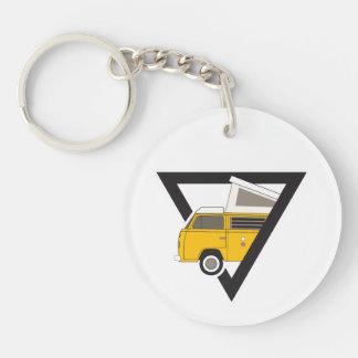 driehoeks klassieke gele bus sleutelhanger
