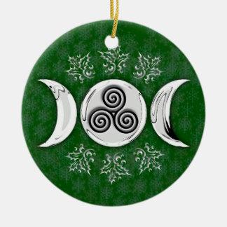 Drievoudige Maan & Drievoudige Spiraalvormige #17 Rond Keramisch Ornament