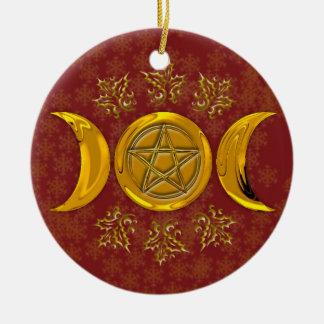 Drievoudige Maan & Pentacle #3 Rond Keramisch Ornament