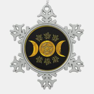 Drievoudige Maan & Pentacle - Sneeuwvlok 1 van het Tin Sneeuwvlok Ornament