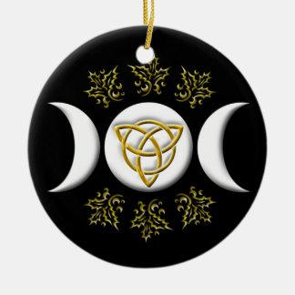 Drievoudige Maan & tri-Quatra #1 Rond Keramisch Ornament