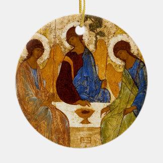 Drievuldigheid met de Vleugels van de Engel Rond Keramisch Ornament
