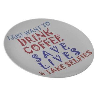 Drink koffie sparen het leven melamine+bord