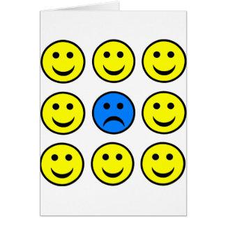 Droevig Gezicht Smiley in een Menigte van Kaart