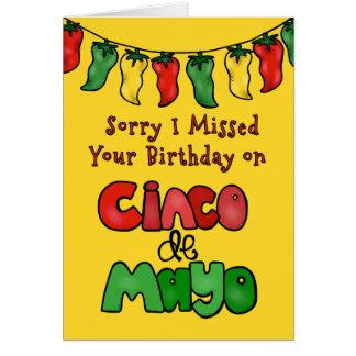 Droevig miste ik Uw Verjaardag van Cinco DE Mayo Wenskaart