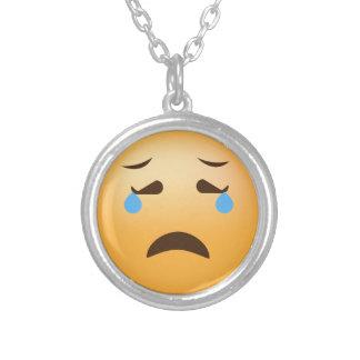 Droevige Emoji Zilver Vergulden Ketting