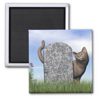 Droevige kat dichtbij grafsteen magneet