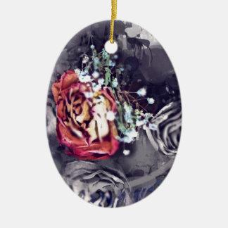 Droge Zwart en Grijze Rozen Keramisch Ovaal Ornament