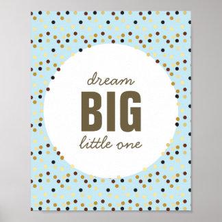 Droom Grote Kleine Blauwe Bruin van de Kunst van Poster