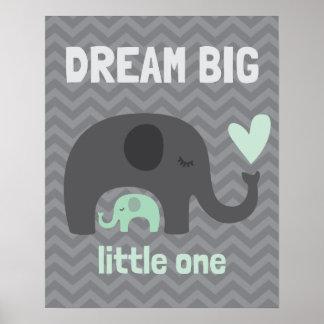 Droom Grote Kleine - Grijze en Groene Olifanten Poster
