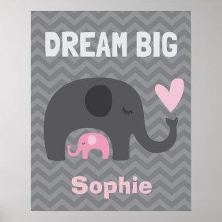 Droom Grote Kleine - Grijze en Roze Olifanten Poster