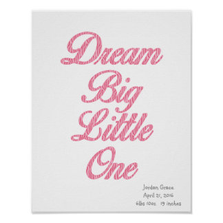 Droom Grote Kleine het Roze Gestreepte Poster van
