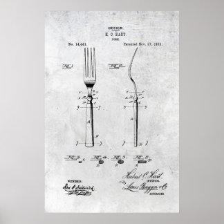 Druk 1883 van het Octrooi van de vork Poster