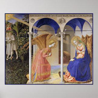 Druk: De aankondiging door Fra Angelico Afdruk