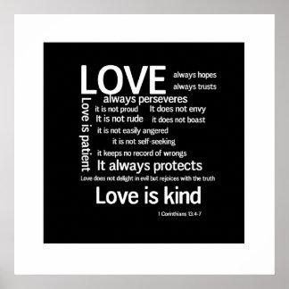 Druk - de Liefde is Geduldige Willekeurige WB Poster