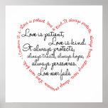 Druk - de Liefde is het Geduldige Hart van Word Posters