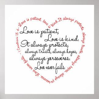 Druk - de Liefde is het Geduldige Hart van Word Poster