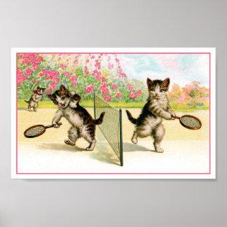 Druk: Het Vintage Art. van de Katjes van het Poster