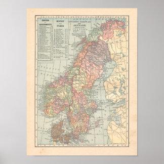 Druk van de Kaart van Zweden Noorwegen Denemarken Poster