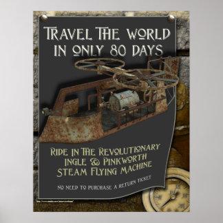 Druk van de Machine van Steampunk de Vliegende Poster