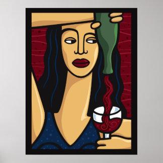 DRUK van de Wijn van de vrouw de Gietende Poster
