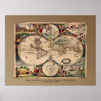 Druk van het Poster van de Kaart van de Wereld van