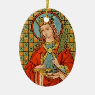 Dubbel Afbeelding St. Barbara (JP 01) Keramisch Ovaal Ornament