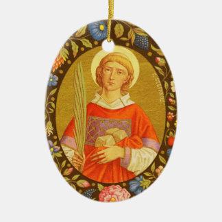 Dubbel Afbeelding St. Stephen ProtoMartyr (PM 08) Keramisch Ovaal Ornament