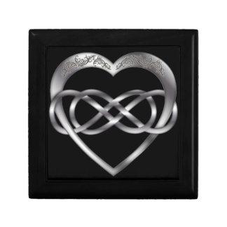 Dubbel Zilveren Hart 1 van de Oneindigheid - de Decoratiedoosje