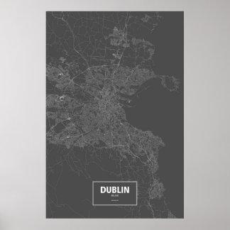 Dublin, wit Ierland (op zwarte) Poster