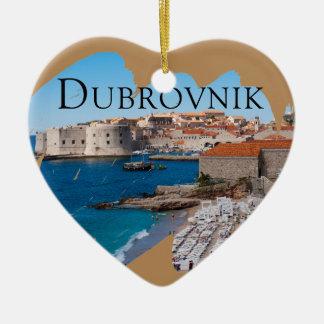 Dubrovnik met een Uitzicht Keramisch Hart Ornament