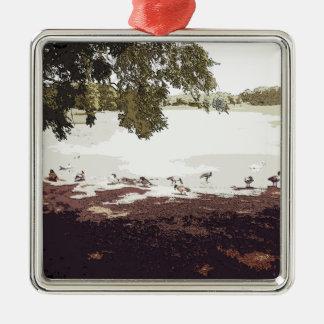 Ducks.jpg Zilverkleurig Vierkant Ornament