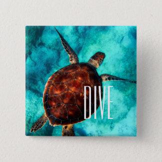 Duik de Schildpad van het Zee Vierkante Button 5,1 Cm