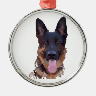 Duitse herder zilverkleurig rond ornament