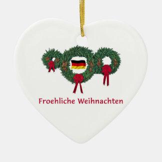 Duitse Kerstmis 2 Keramisch Hart Ornament