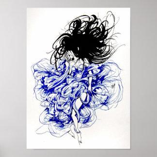 Duivel in een Blauwe Kleding Poster
