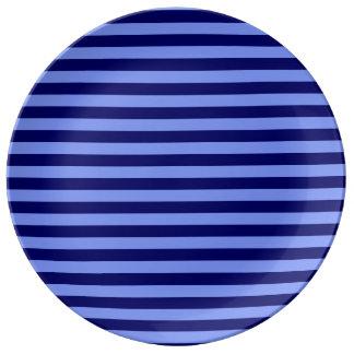 Dunne Lichtblauw en Donkerblauwe Strepen - Borden Van Porselein