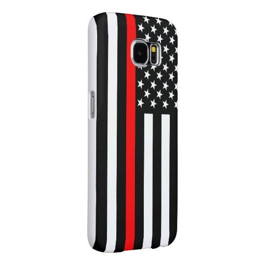Dunne Rode Lijn Grafisch op een Vlag van de V.S. Samsung Galaxy S6 Hoesje