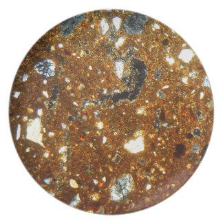 Dunne sectie van een baksteen onder de microscoop diner bord
