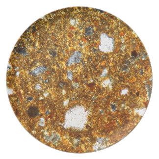 Dunne sectie van een baksteen onder de microscoop diner borden