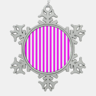 Dunne Strepen - Wit en Fuchsia Tin Sneeuwvlok Ornament