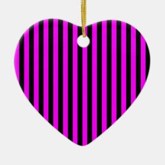 Dunne Strepen - Zwarte en Fuchsia Keramisch Hart Ornament