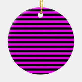 Dunne Strepen - Zwarte en Fuchsia Rond Keramisch Ornament