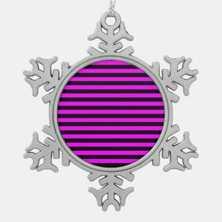 Dunne Strepen - Zwarte en Fuchsia Tin Sneeuwvlok Ornament