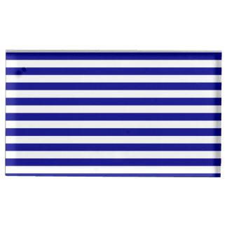Dunne Wit en Donkerblauwe Strepen - Tafelnummer Houder