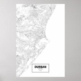 Durban, zwart Zuid-Afrika (op wit) Poster