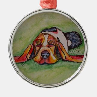Duttende Hond Bassett Zilverkleurig Rond Ornament
